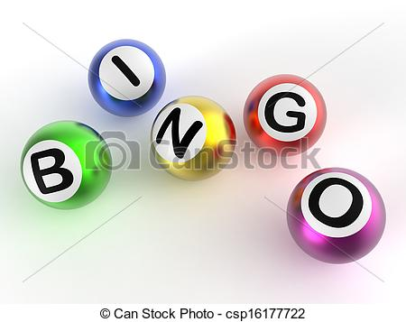 Clip Art of Bingo Balls Shows Luck At Lottery.
