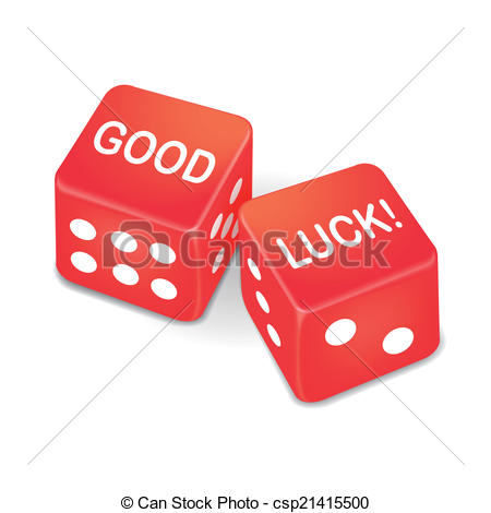 Vector Clipart of good luck words on two red dice over white.