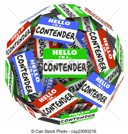 Clipart of Contender Word Name Badge Tag Sphere Compete Job WIn.