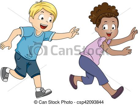 EPS Vector of Kids Playing Tag Game.