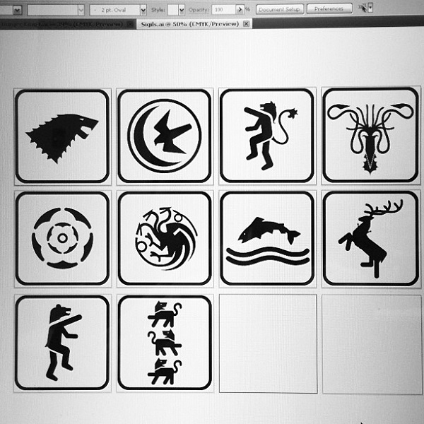 Game Of Thrones\' House Sigils Reimagined As Pictograms.