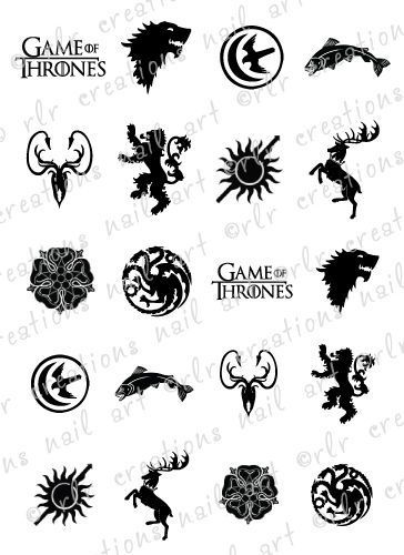Details about 20 NAIL DECALS * GAME OF THRONES HOUSE SIGIL.