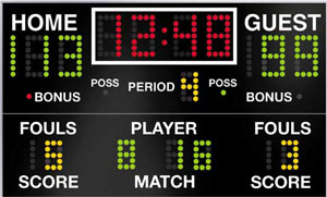 Showing post & media for Cartoon basketball game with scoreboard.
