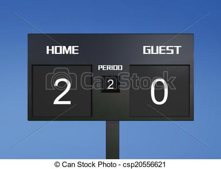 Clip Art of soccer scoreboard score 2 & 0.
