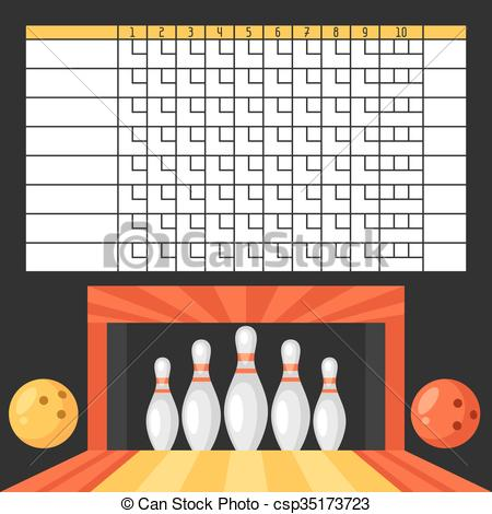 Vector Illustration of Bowling score sheet. Blank template.