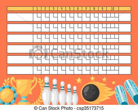 Vector Clip Art of Bowling score sheet. Blank template scoreboard.