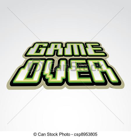 Clipart Vector of Game over concept of logo.