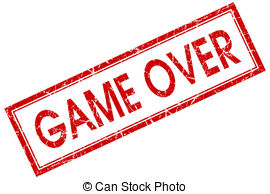 Game over red square stamp isolated on white background.