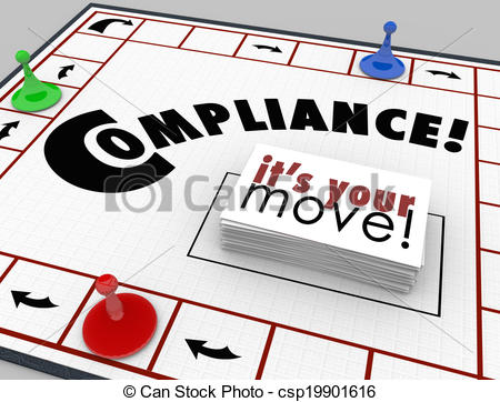 Clipart of Compilance Board Game Follow Rules Regulations Laws.