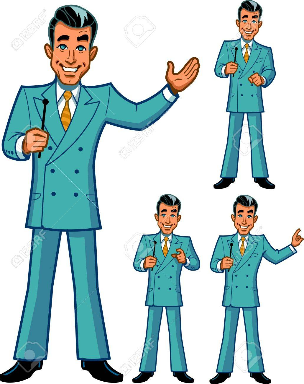 TV Game Show Host in Four Classic Poses.