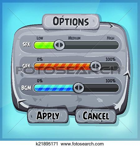 Clipart of Cartoon Stone Control Panel For Ui Game k21895171.