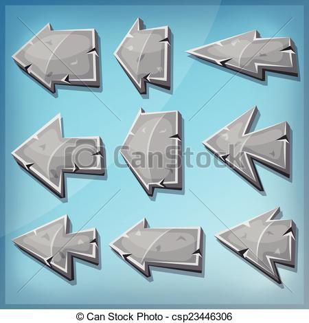 Vector Clipart of Stone Arrows Signs For Ui Game.
