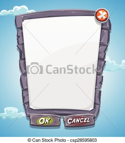 Vector Clipart of Cartoon Big Stone Agreement Panel For Ui Game.