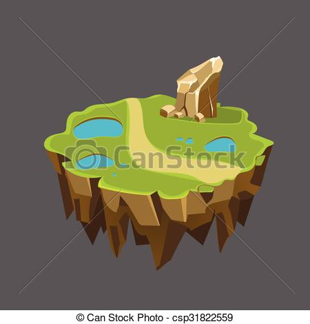 Clipart Vector of Cartoon Stone Isometric Island with Waterfall.