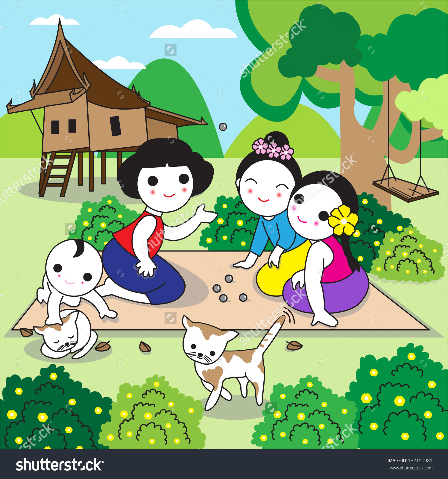Traditional Thai Children Playing Traditional Thai Stock Vector.