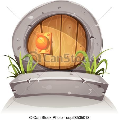Vector Clip Art of Cartoon Wooden And Stone Hobbit Door For Ui.