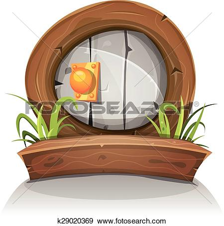 Clip Art of Cartoon Wooden And Stone Rounded Door For Ui Game.