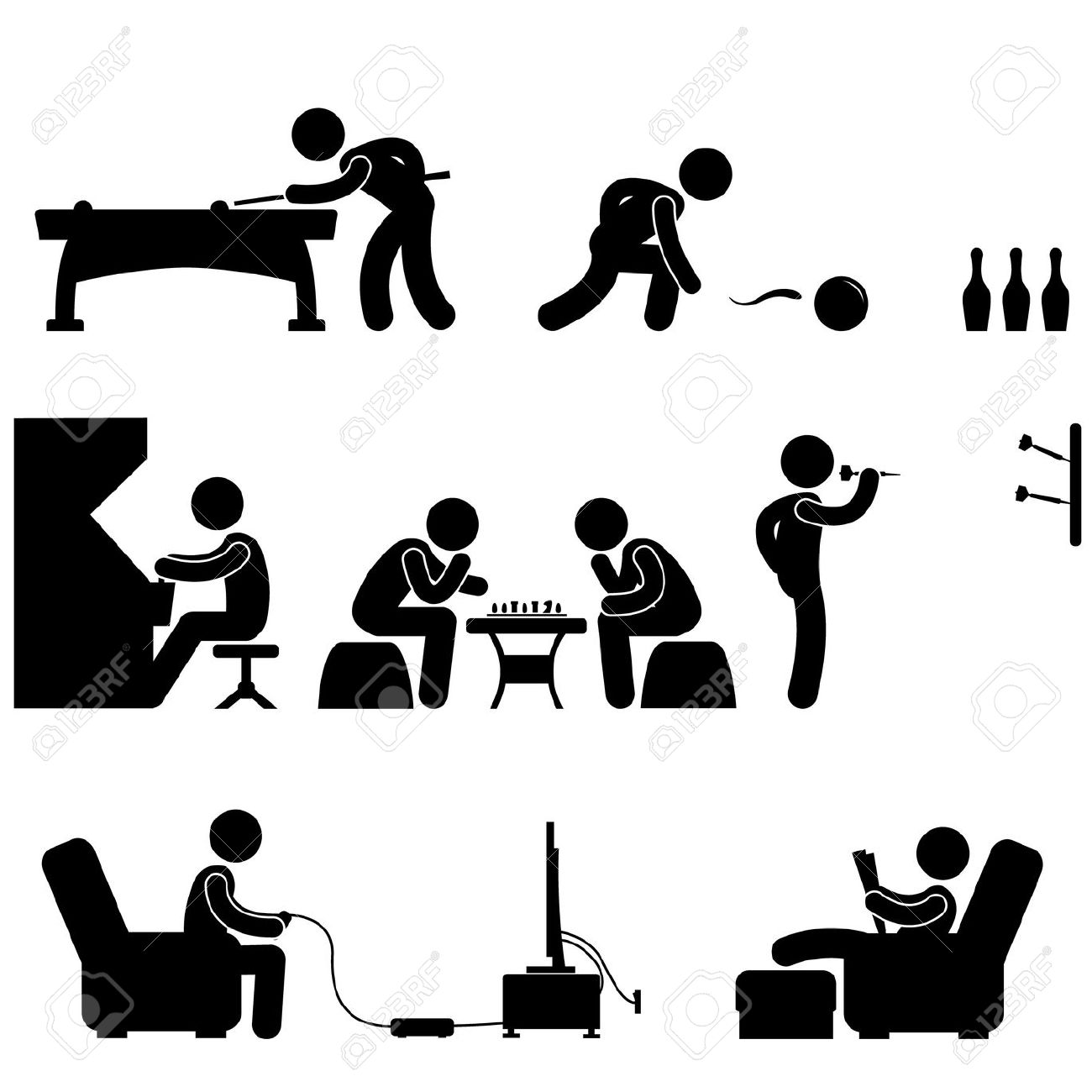 Gaming table black and white clipart.