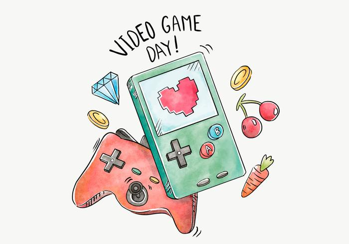 Watercolor Handheld Video Game Vector.