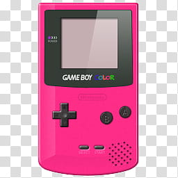 Pink and black Nintendo Game Boy Color turned.