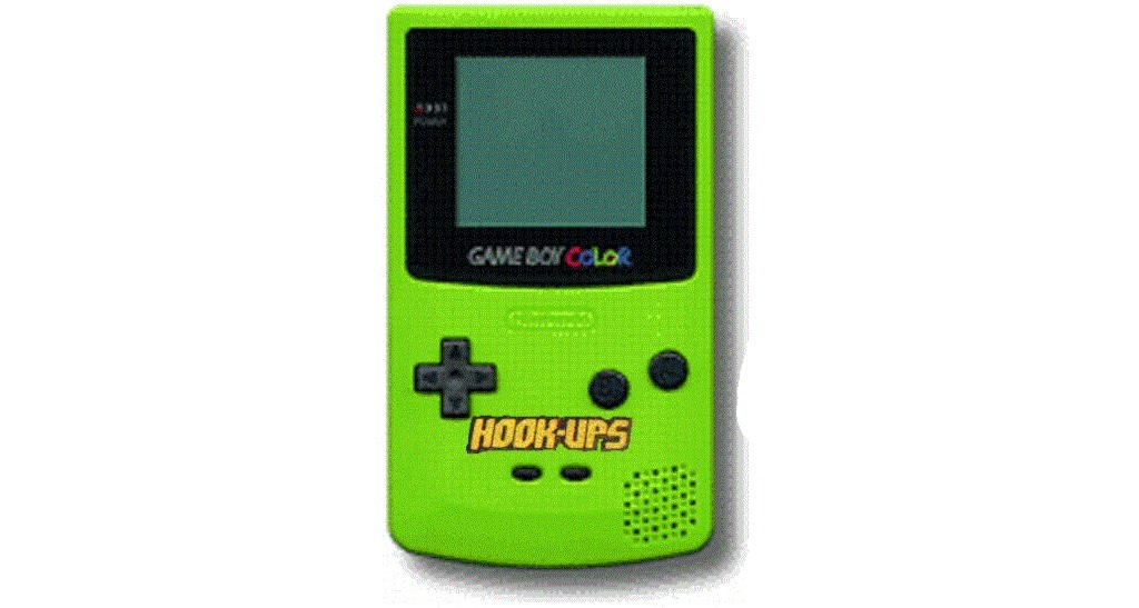 Game Boy Color Hookups Lime Green with Hookups logo.