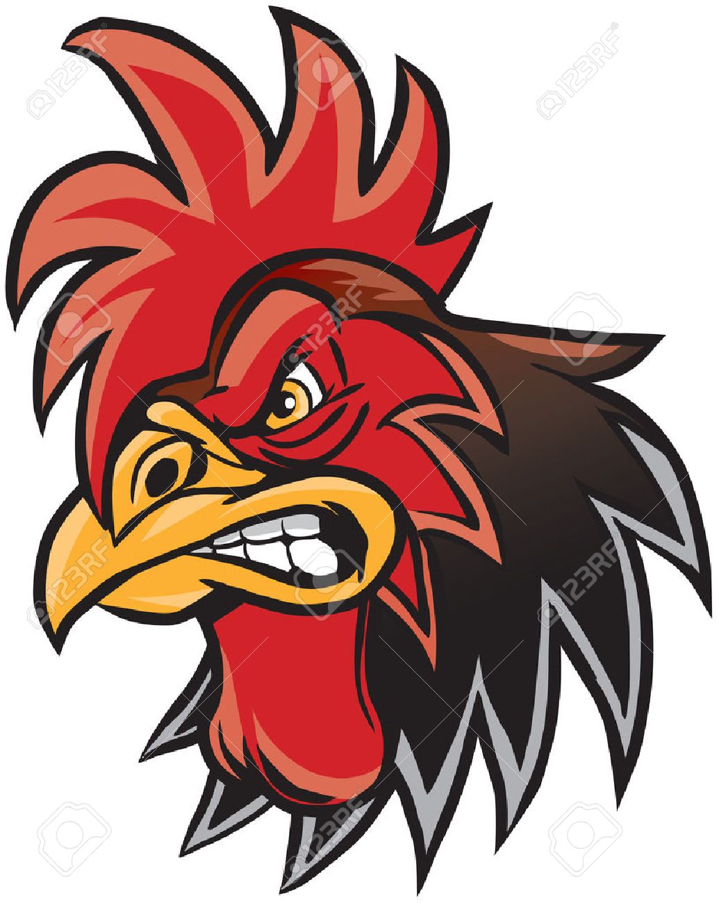 Vector cartoon clip art illustration of a rooster or gamecock...