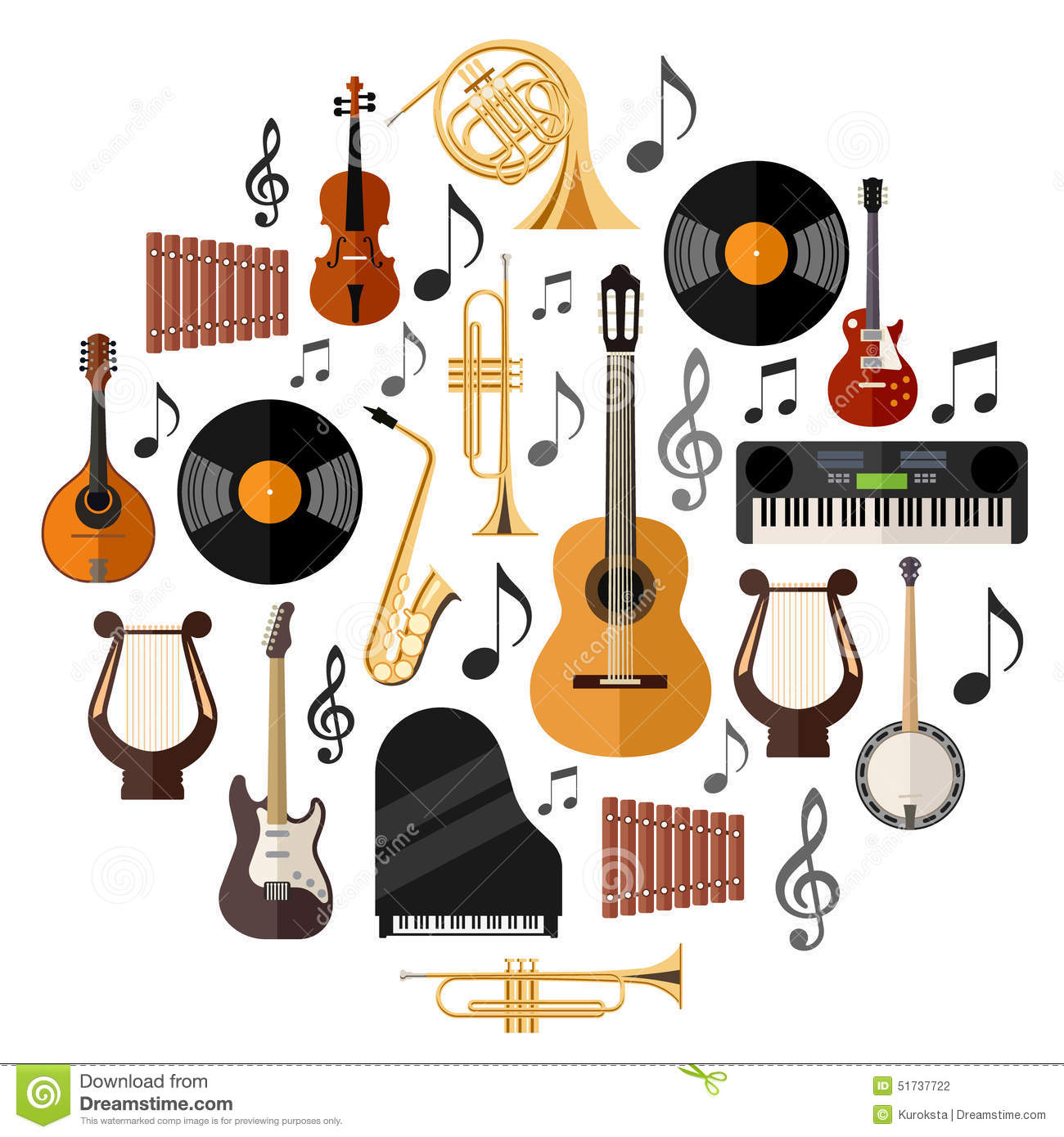 Assorted Musical Instruments Stock Vector.