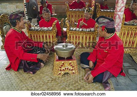 """Stock Images of """"Gamelan musicians, Gamelan orchestra, Batubulan."""