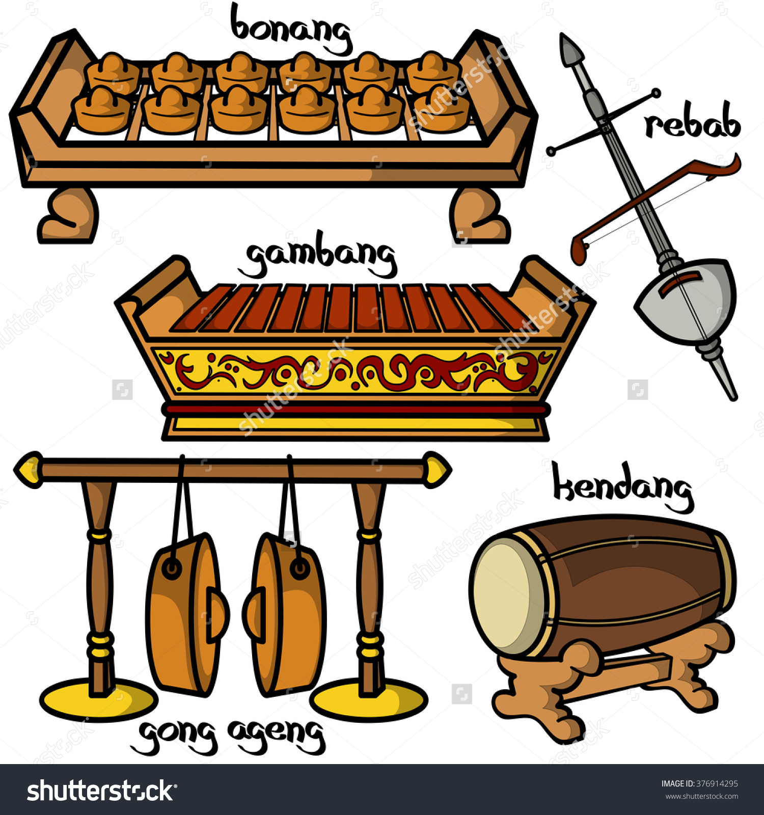 Set Hand Drawn Traditional Indonesian Musical Stock Vector.