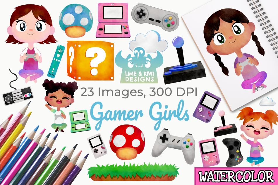 Gamer Girls Watercolor Clipart, Instant Download Vector Art.