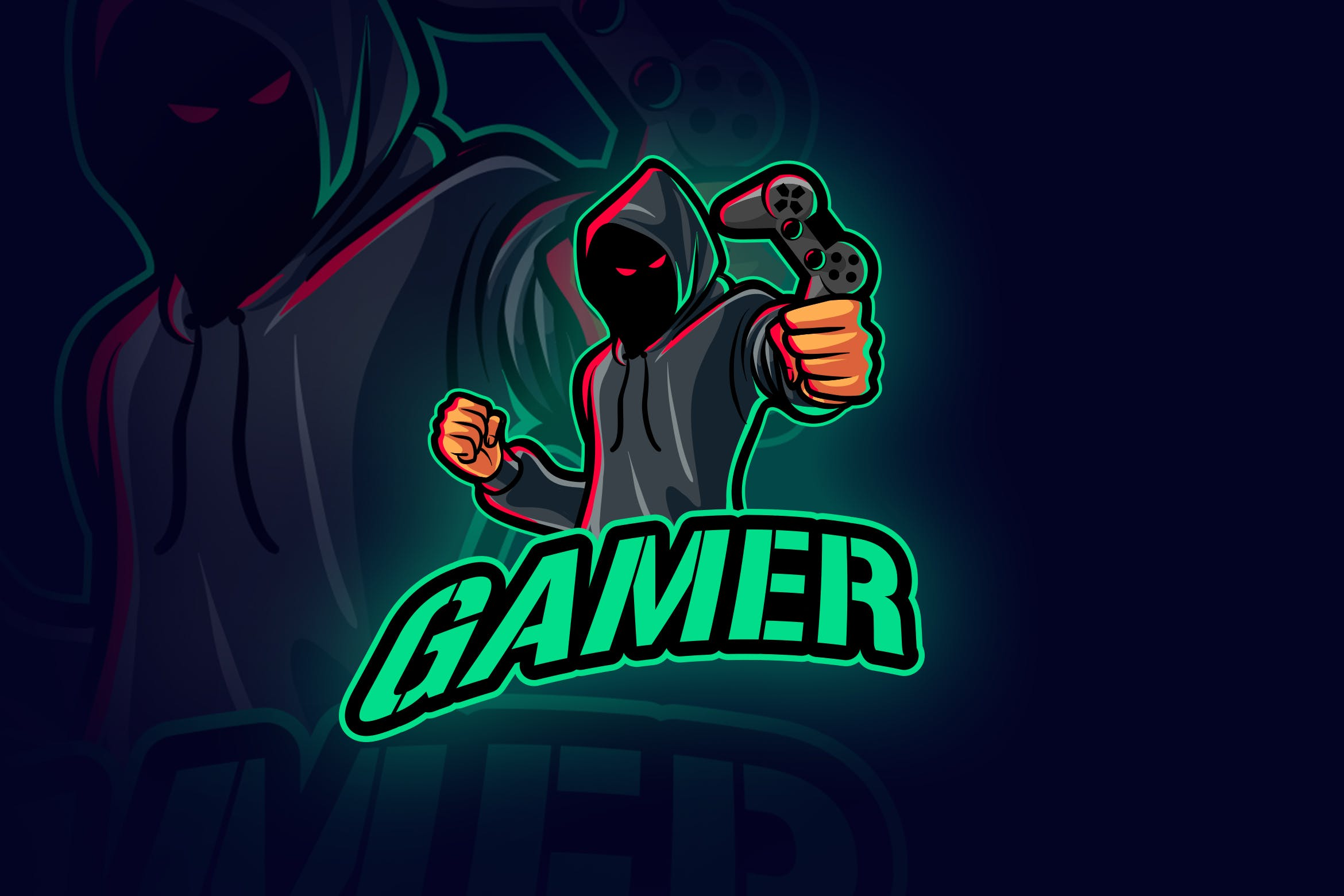 Anonymous Evil Hooded Gamer Mascot Logo by Suhandi on Envato Elements.