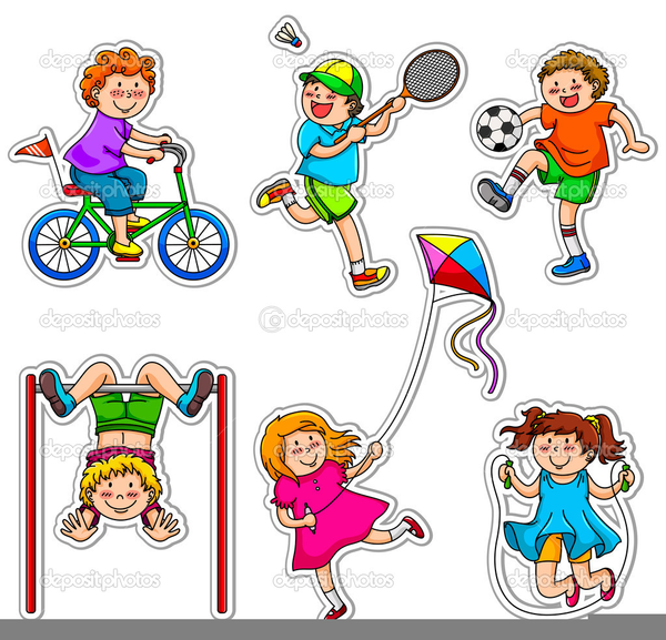 Kids Playing Video Games Clipart.