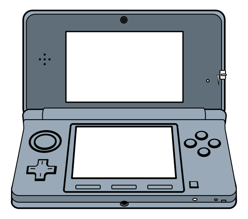 Kid with handheld game clipart.