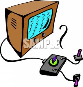 Gaming Console Hooked Up To a Television Clipart Picture.