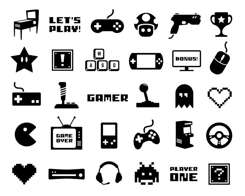 Gaming Clip Art Video Game Vector Art Gamer Silhouette Images png Retro  Gaming Icon Set svg Arcade Game Digital Art pdf Video Game eps.