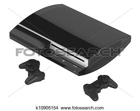 Drawings of Gaming console and joysticks k10905154.