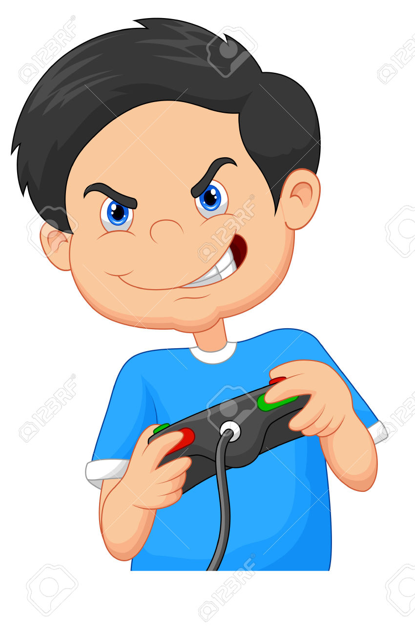 Child Plays Games On Video Game Console Royalty Free Cliparts.