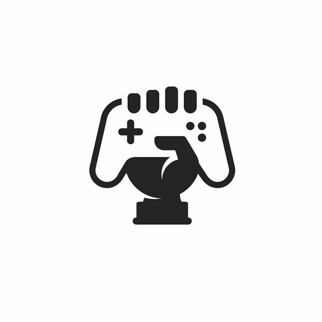 Controller Grasp Gamer Logo Design Illustration..