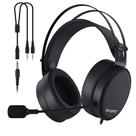 NUBWO PS4 Headset, N7 Stereo Gaming Headphones with Mic for Xbox One, PS4,  Nintendo Switch, PC for Kids, Black.