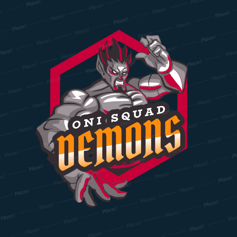 Gaming Logo Template Featuring a Demon Character 1747a.
