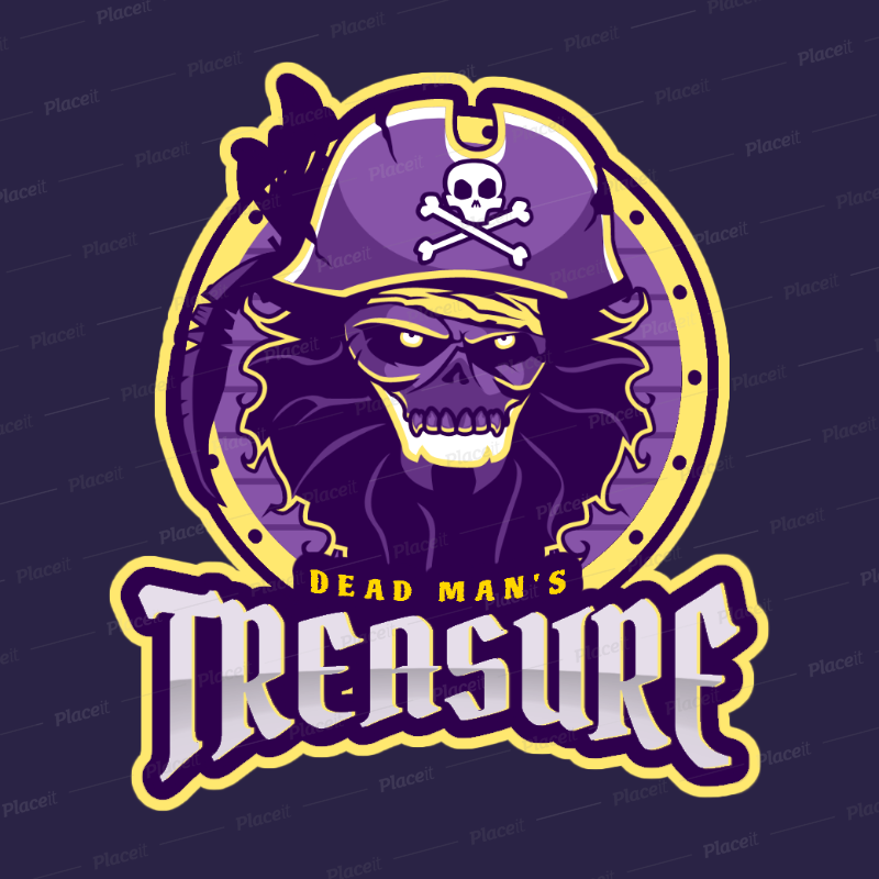 Gaming Logo Design Template with Pirate Graphics 1749c.