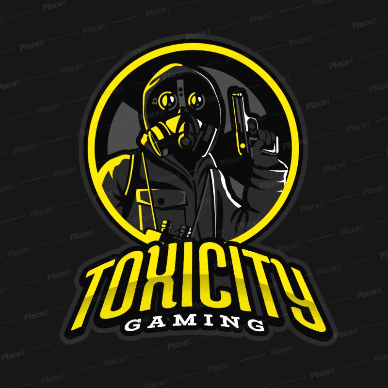 Gaming Logo Template Featuring a Gunman Wearing a Respirator Mask 383n 2290.