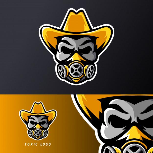 Toxic skull mask hat sport esport gaming mascot logo.