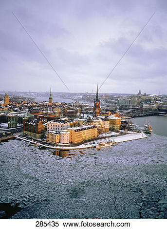 Stock Image of Aerial view of city, Gamla Stan, Riddarholmen.