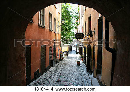 Stock Photo of street in Gamla Stan section, Stockholm, Sweden.