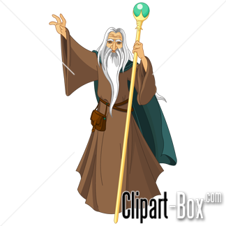 CLIPART WIZARD WITH STAFF.