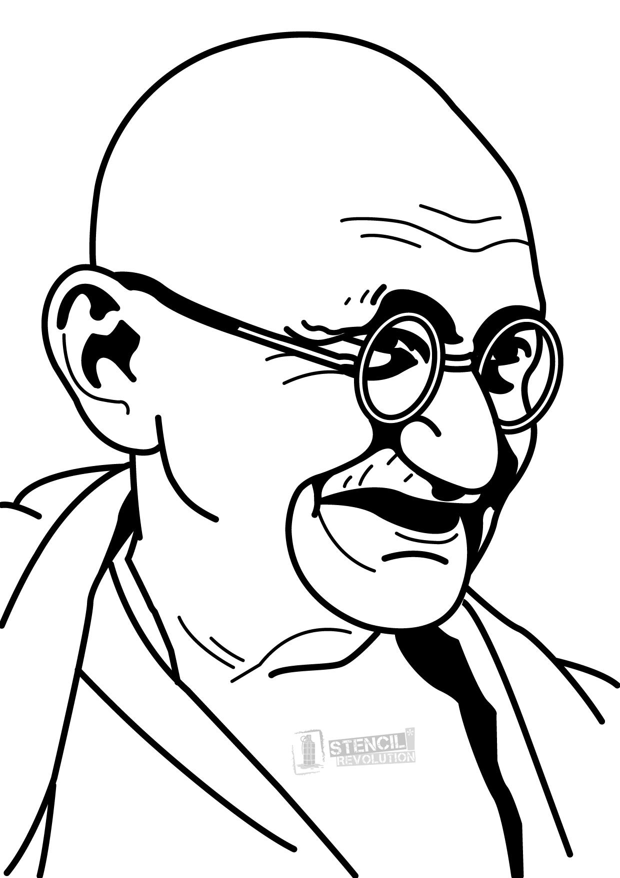 Gandhi Pencil Drawing.