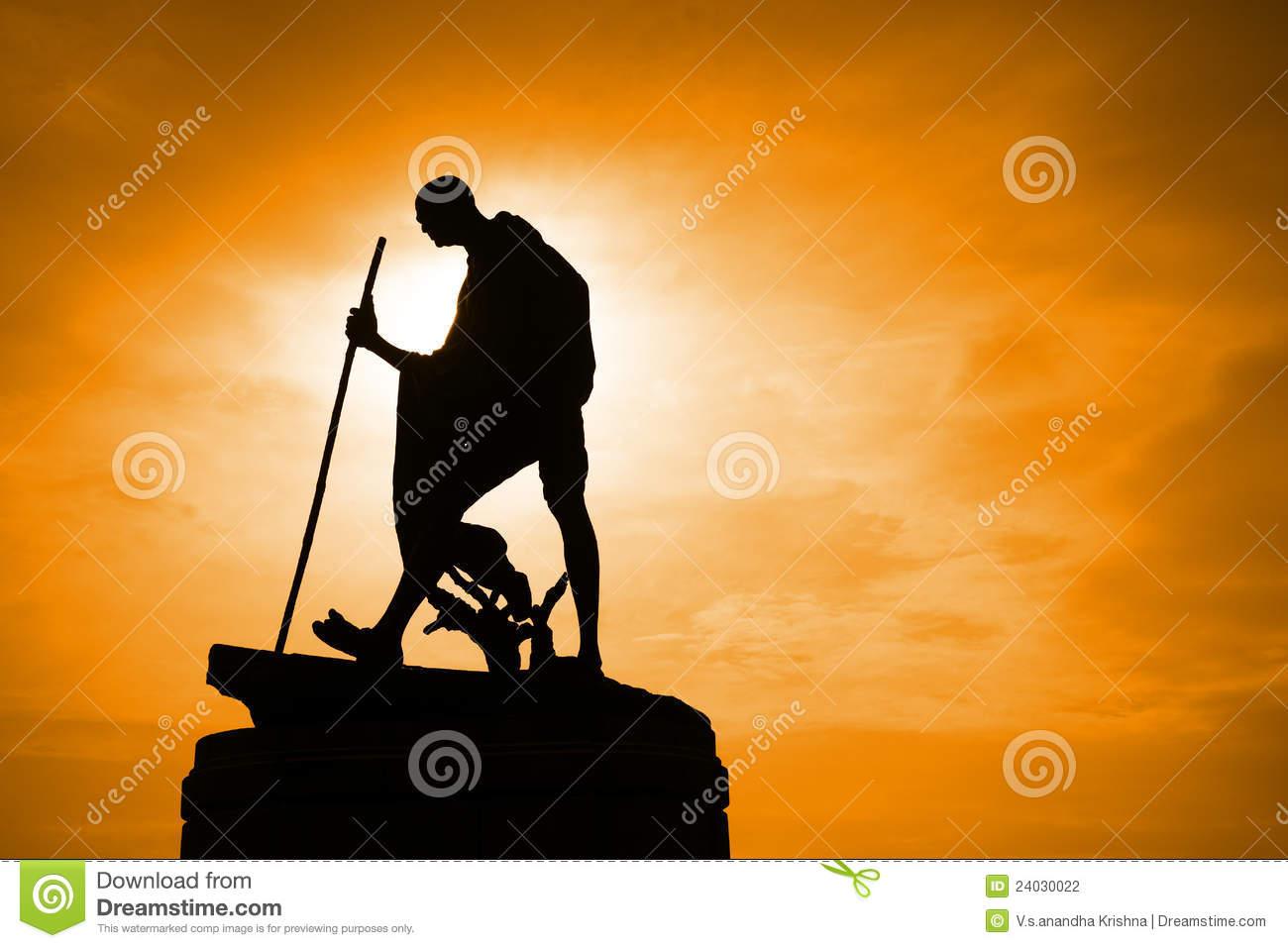 Silhouette Of Mahatma Gandhi Statue Stock Photography.
