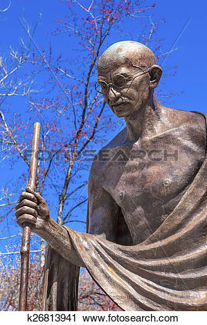 Clipart of Gandhi Statue Indian Embassy Embassy Row Washington DC.