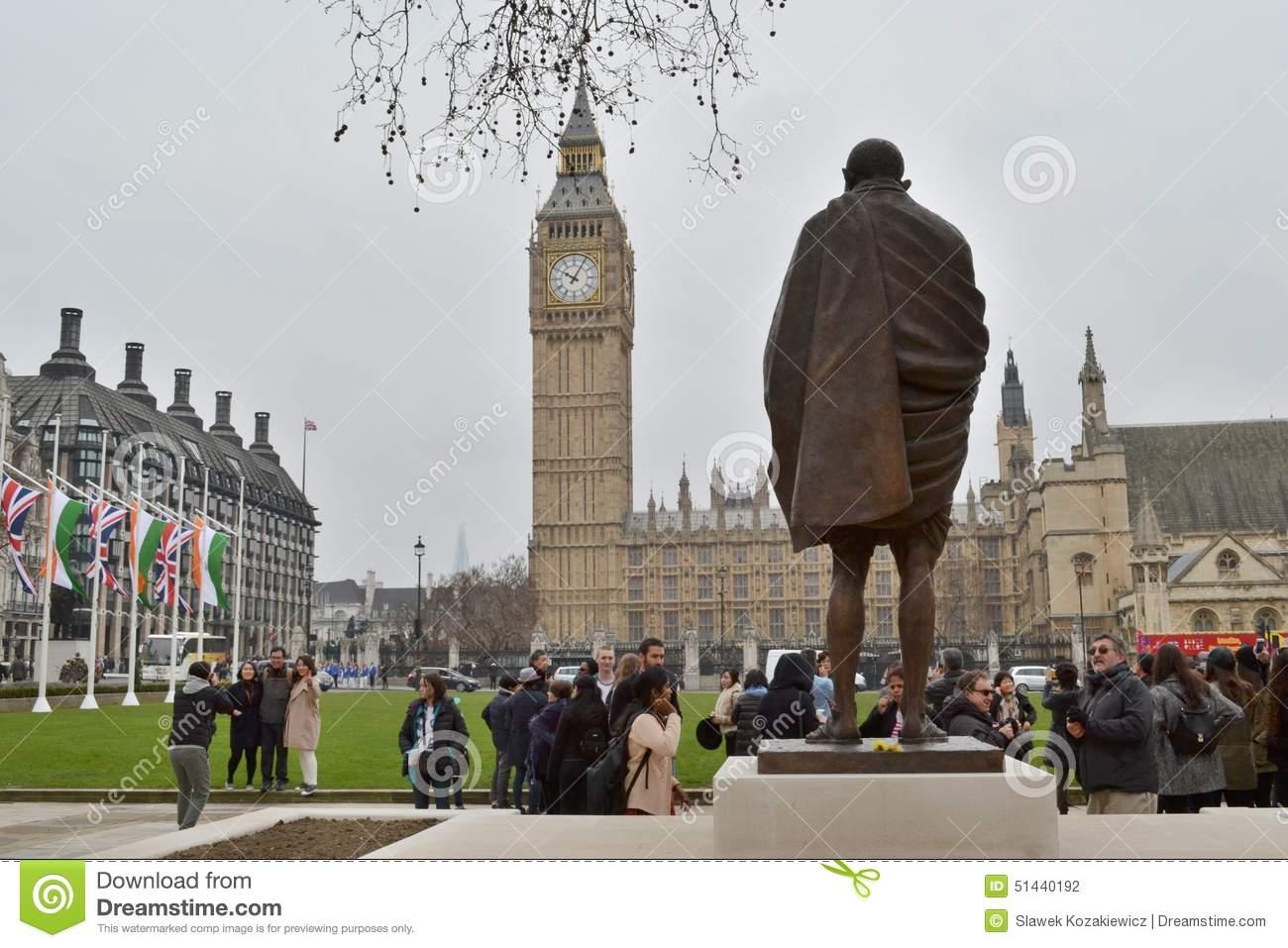 Statue Mahatma Gandhi Parliament Square London Editorial Image.